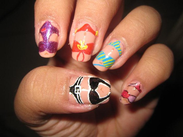 Cute Nail Designs For Spring Break nail art swimsu...