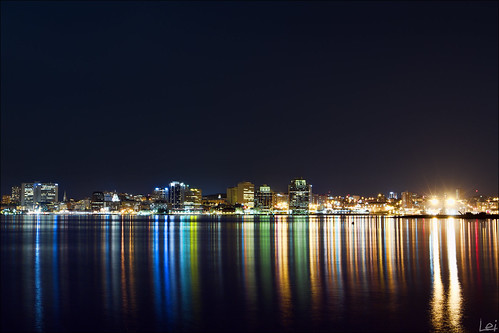 summer reflection water skyline night canon lights downtown neon novascotia ns 7d dslr halifax 2010 1635mm cans2s