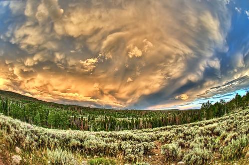 camp sky storm rain clouds sunrise lens utah nikon highway mirrorlake scout fisheye 150 lightning wilderness nikkor f28 thunder hdr frontier reservation d300 105mm bearriver photomatix kamas eastfork 7xp baldmountainpass