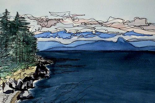 watercolour sooke olympicmountains pleinair viewfromrocksatgordonbeach