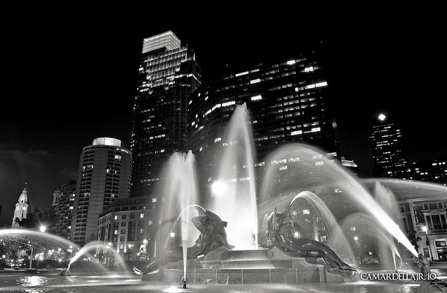 Fountain at Logan Circle in Black & White - 08.05.10