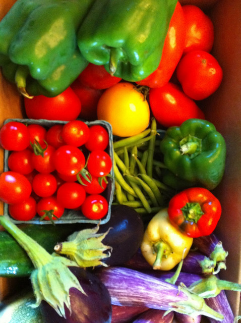 A box of fresh vegetables