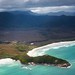 Aerial view of Point Eric, Cox Bight, South Coast Track, Tasmania by mindsocket