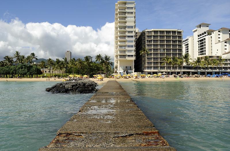 Walking on the walkway at Waikiki