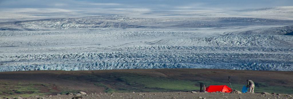 Camping at foot of a glacier