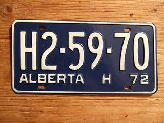 ALBERTA 1972 ---HIGHWAY PLATE H2-59-70