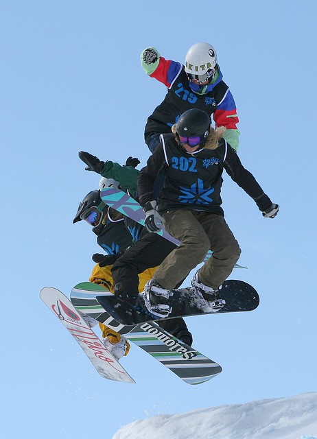 Getting airtime in the women's boardercross at The Brits 2010 at Laax, Switzerland