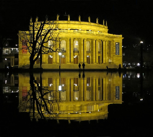 Opera Reflections at Night - Stuttgart, Germany