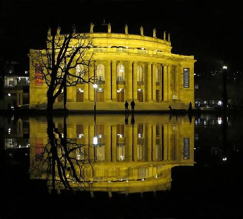 Opera Reflections at Night - Stuttgart, Germany