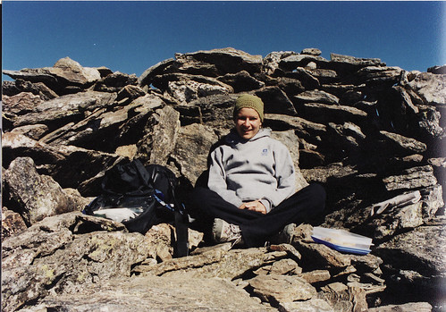 2002. hiding from the wind on top of a mountain in colorado.