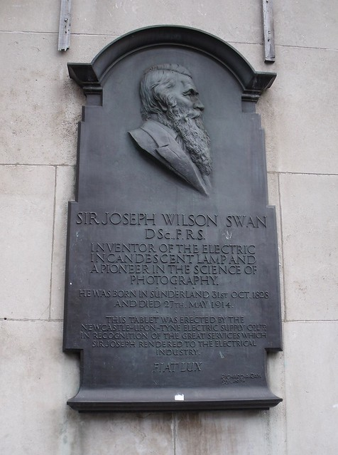Photo of Joseph Swan stone plaque