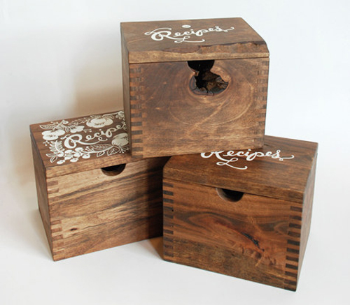 wooden recipe card box the style files. Black Bedroom Furniture Sets. Home Design Ideas