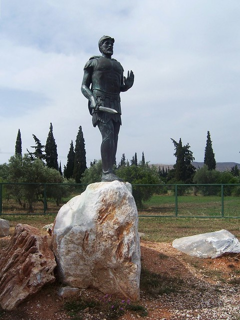 Modern-day statue of the ancient Athenian general Miltiades in Marathon on the site of the battle