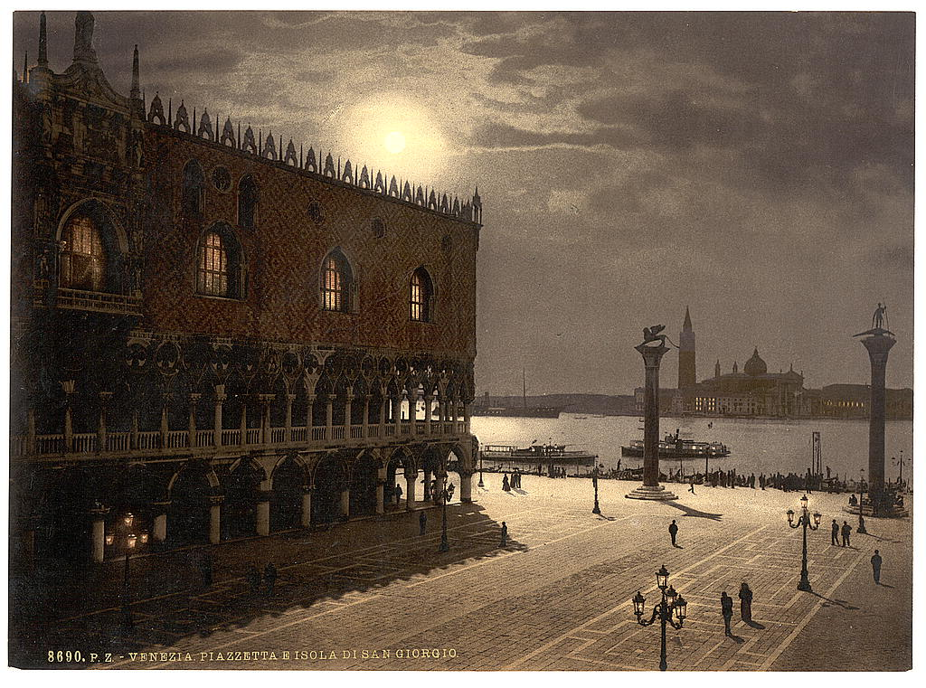 [Piazzetta and San Georgio by moonlight, Venice, Italy] (LOC)