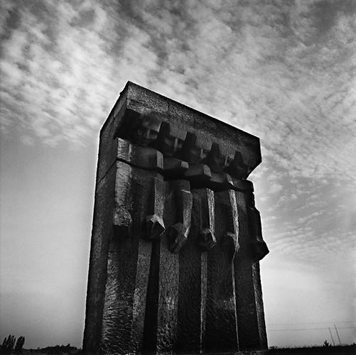 Memorial, (Ryszard Szcypczynski and Wiltord Ceckiewicz), Study 3, Plaszow, by Michael Kenna 1998
