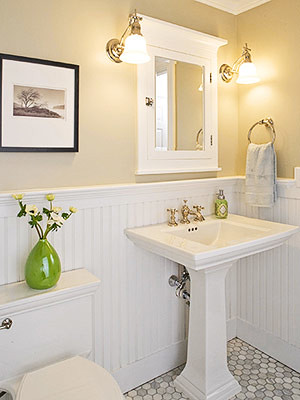 Clean classic and practical bathroom newlywoodwards for Bathroom ideas yellow tile