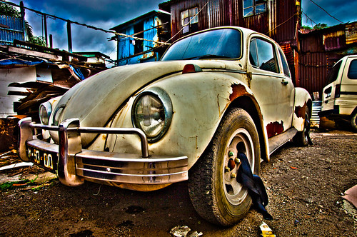 color colour car yard photoshop bug volkswagen eos junk beetle abandon macau ultrawide hdr macao lightroom 澳門 veedub photomatix volkswagentype1