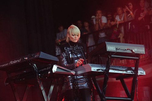 Sister Bliss of Faithless at Pyramid Stage, Glastonbury