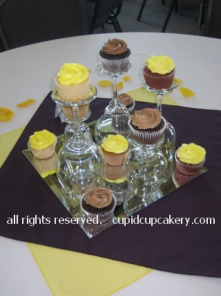 Yellow Wedding Cupcake Centerpieces by Cupid Cupcakery