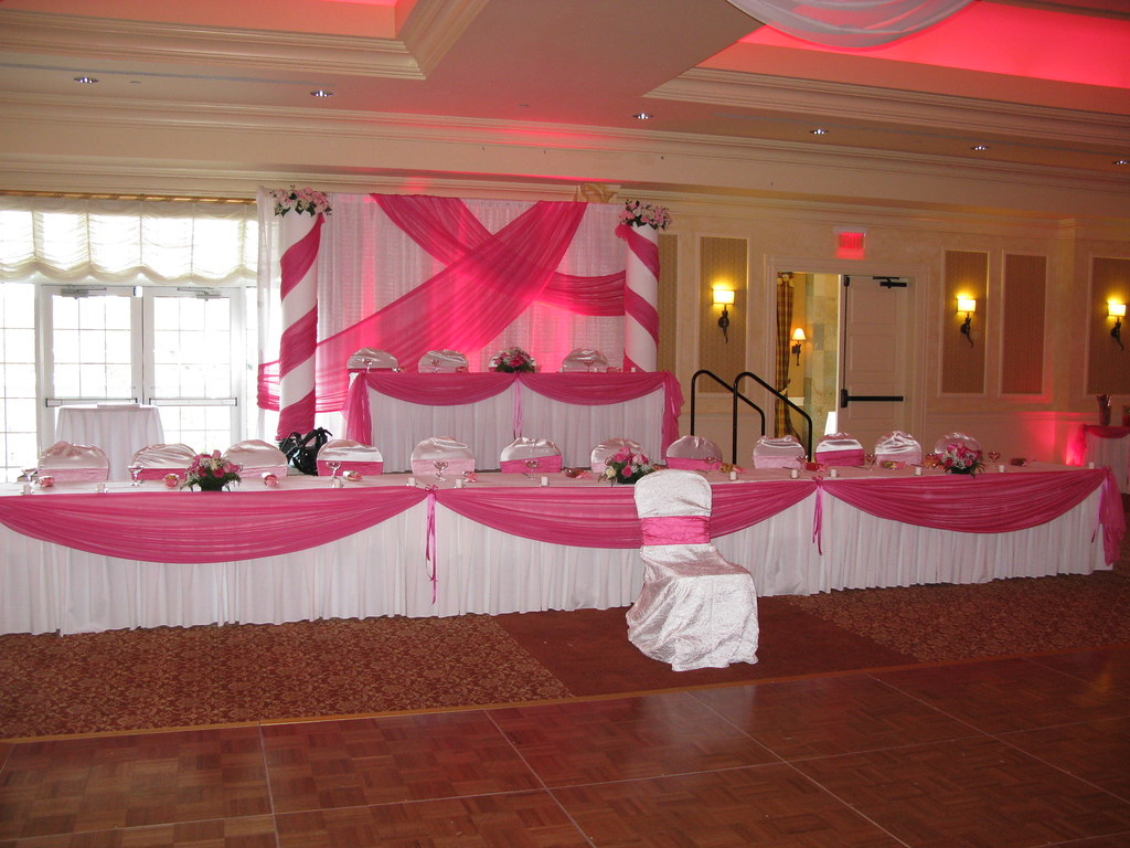 Head table decorations and backdrop for a quinceanera at for Backdrops decoration