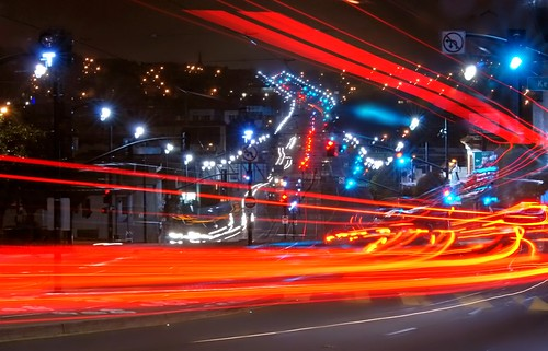 sanfrancisco california street city longexposure red summer urban motion color northerncalifornia lights moving movement lowlight nikon publictransit traffic muni bayarea bayview d200 3rdstreet 2010 traffictrails lightstream sanfranciscocounty