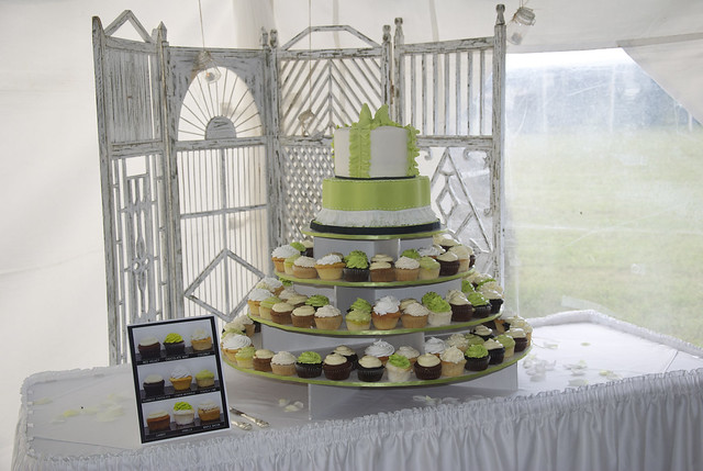 2 tier wedding cake 120 cupcakes and stand for a country chic wedding