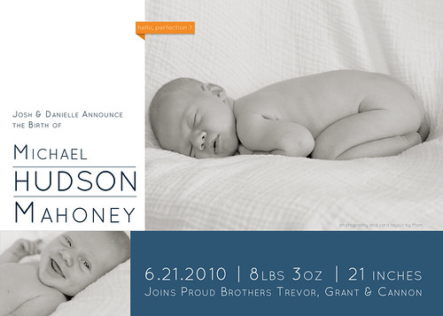 Hudson's Birth Announcement