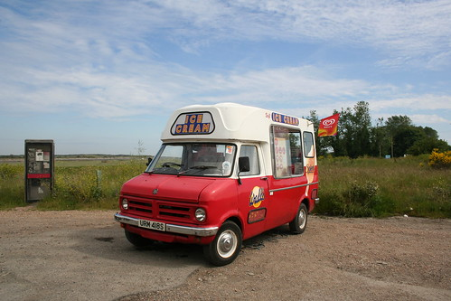 Bedford CF Ice cream van at work in Rye Harbour,East Sussex,UK on 13th June 2009