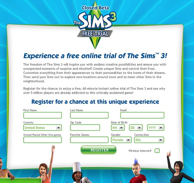 the sims 3 online registration