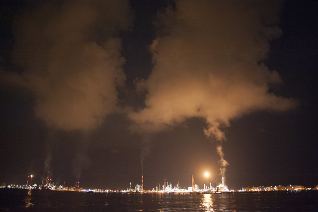 Flaring at petrochemical plants on Pulau Bukom