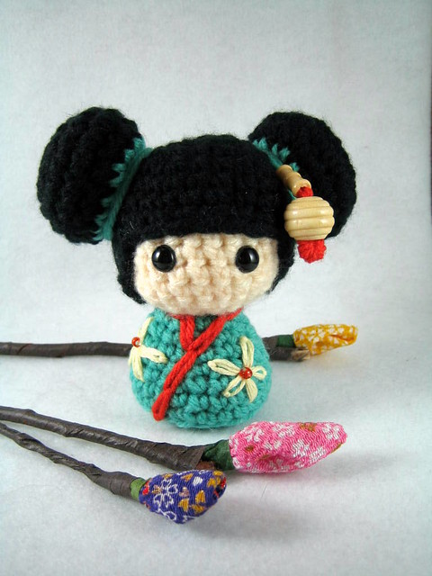 Amigurumi Rose Pattern Free : Haruko, an amigurumi kokeshi doll Flickr - Photo Sharing!