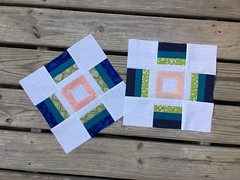 May blocks for Serenity Circle, Do Good Stitches. Graduated cross block.