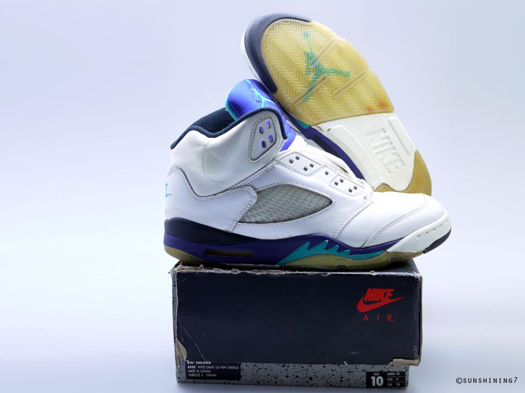 fd4eda251d4 Sunshining7 - Nike Air Jordan V (5) - OG 1990 - White Purple Emerald