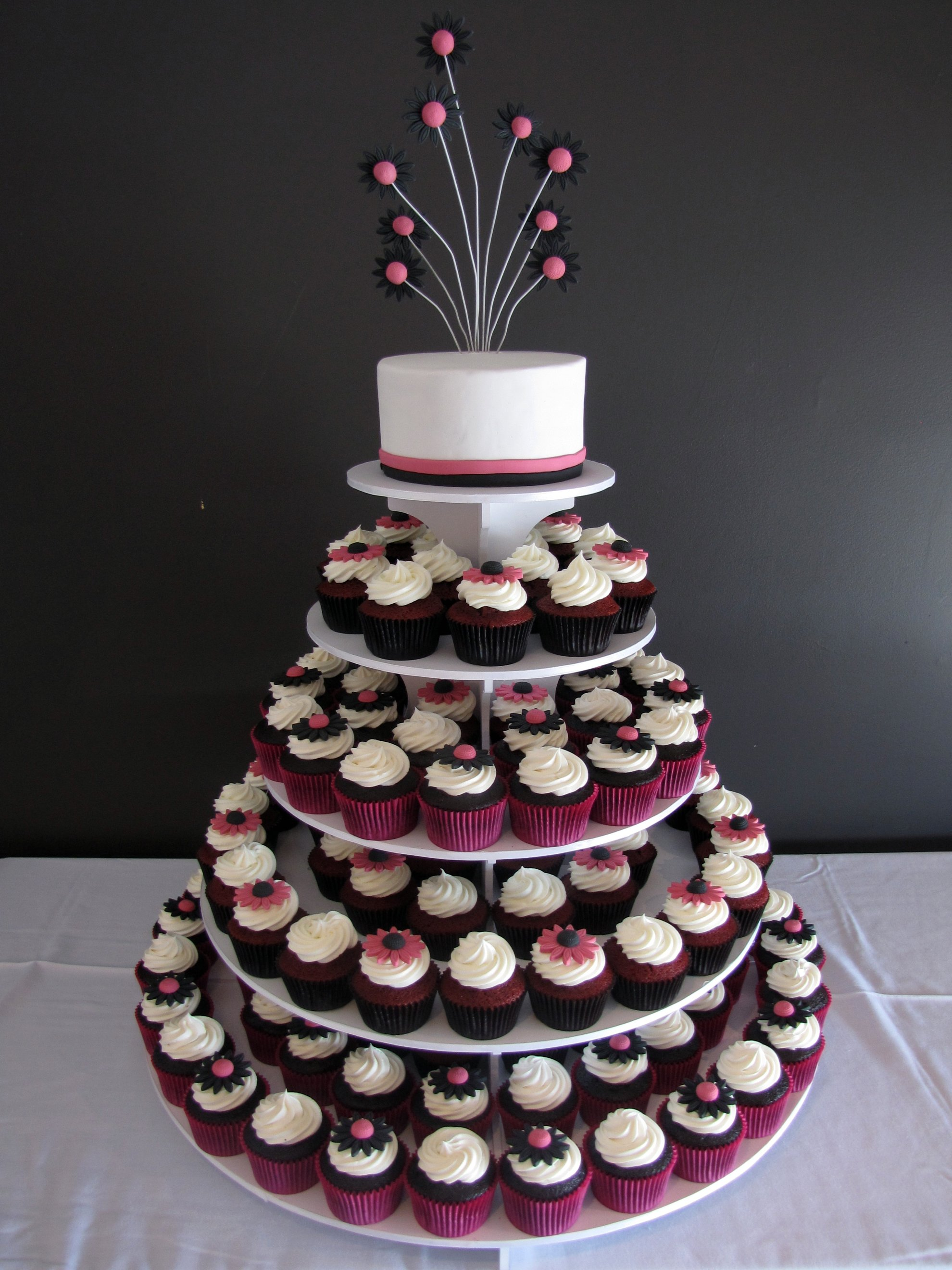 Funky Daisy Gerbera Wedding Cupcake Tower