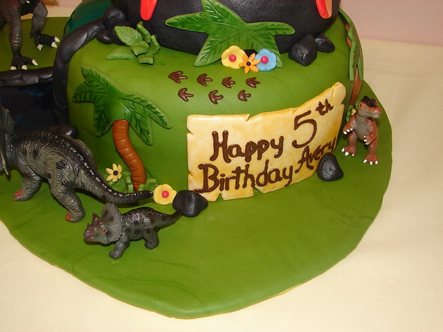 Dinosaur birthday cake with volcano and river  Flickr - Photo Sharing ...