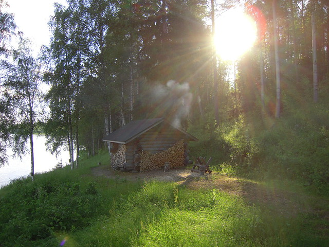 Sauna near a lake