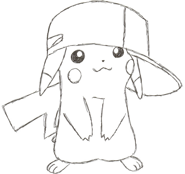 pikachu with hat coloring pages - photo#13