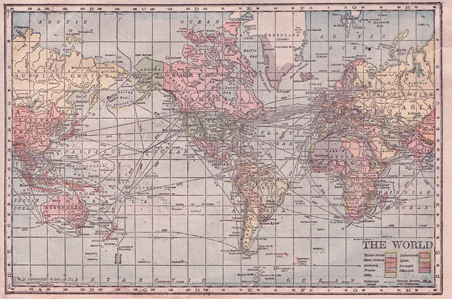 hammond cylindrical projection world map 1905