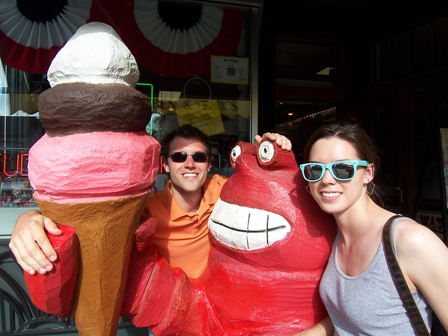 ian and anna with the ice cream lobster