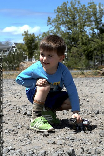 playing with transformers demolisher robot in a real gravel pit