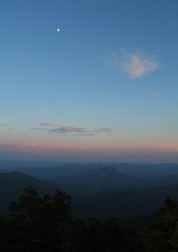 trees sunset sky moon clouds landscape nc horizon northcarolina bluesky blueridgeparkway lookingglassrock landscapephotography davidhopkinsphotography tranyslvaniacounty