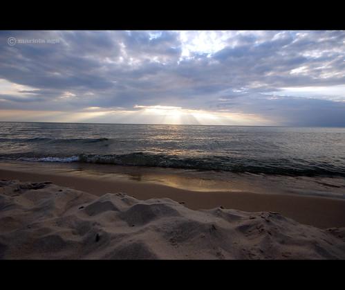 sunset summer sky lake beach nature water clouds sand michigan sunrays coloma lakemichiganbeach