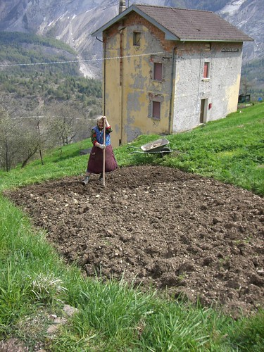 Lady spading on mountain field