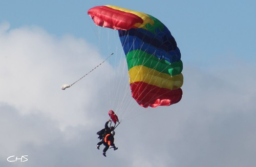 Tandem Parachute at Perranporth Airfield, North Cornish Coast by Claire Stocker (Stocker Images)