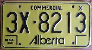 ALBERTA 1984 ---RESTRICTED COMMERCIAL, LATE SERIAL NUMBER FORMAT