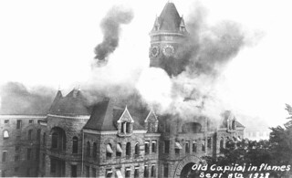 Washington State Capitol Building on fire, Olympia, Washington