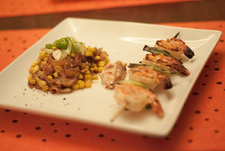 Grilled Lime-Miso Shrimp with Corn, Roasted Onion, Bacon and Miso Butter | by phy5ics