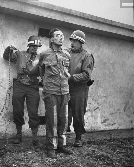 German spy Gunther Billing prior to execution by firing squad, Bastogne, Belgium, by John Florea 1944