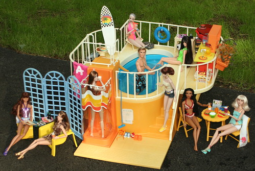 Pool party every day a dollie for Barbie doll house with swimming pool