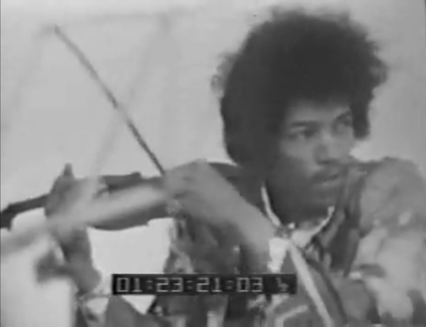 ]imi Hendrix pretending to play violin on Dutch tv 1967